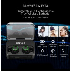 Беспроводные наушники Blitzwolf BW-FYE3 True Wireless Bluetooth 5.0 Headphone Hi-Fi Stereo Sound Bilateral Calls Earphone с зарядной коробкой (боксом)